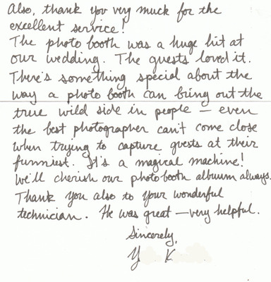 A thank you note from one of our great clients.